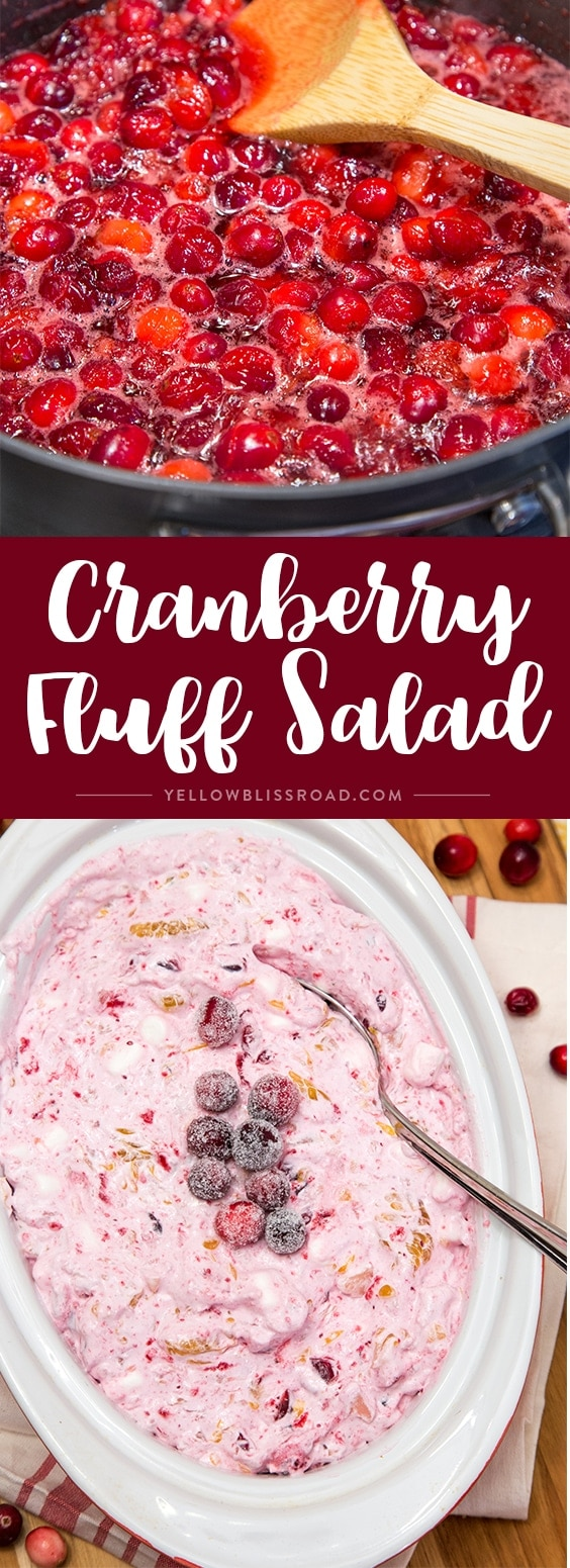 This Cranberry Fluff Salad is the perfect side dish or dessert for the holidays! @Anolon #ad