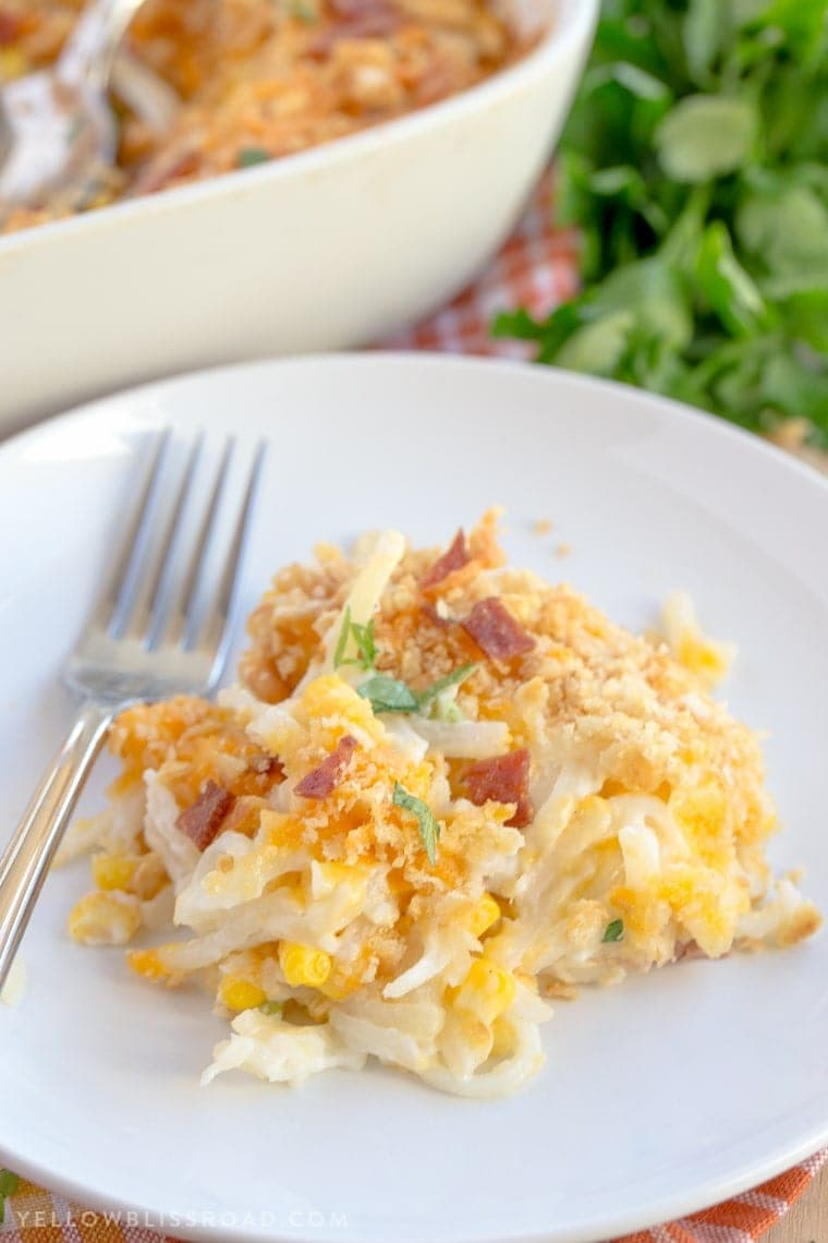 Creamy Potato, Corn, and Bacon Casserole. The perfect side dish for any holiday. #ad #simplyholidays @simplypotatoes