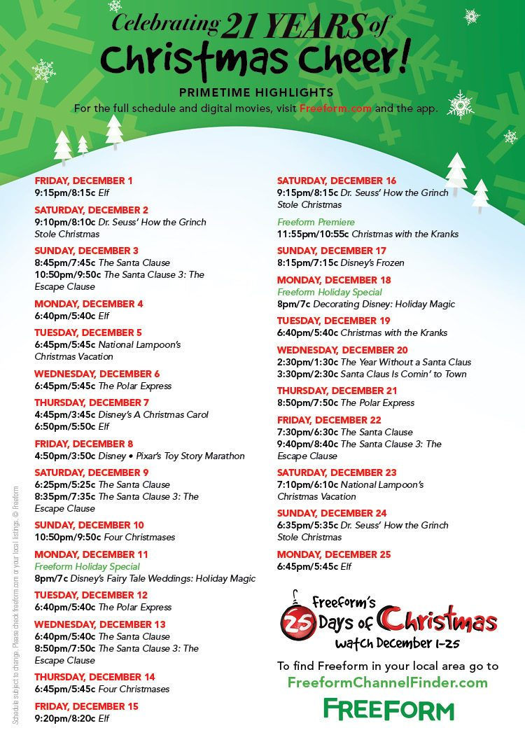 freeforms christmas movie line up for 2017 holiday movie schedule