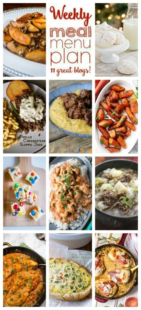 Weekly Meal Plan Week 44 – 11 great bloggers bringing you a full week of recipes including dinner, sides dishes, and desserts!
