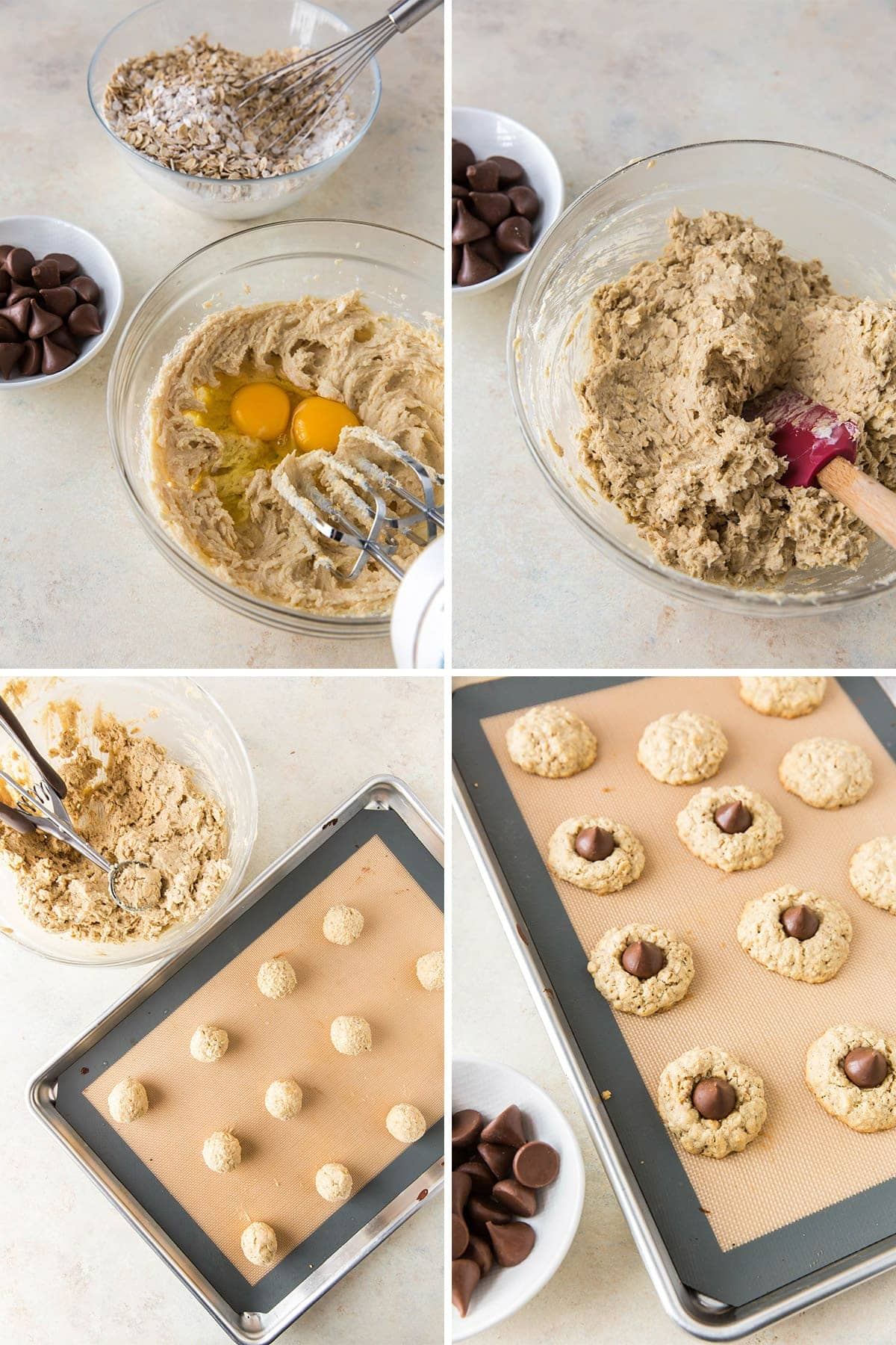 collage of process images for making oatmeal kiss cookies