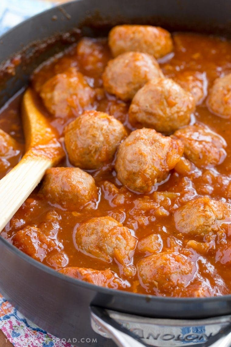 Turkey Meatballs smothered in a homemade Spicy Pineapple Barbecue Sauce. These meatballs are great for as a party appetizer or as a dinner entree!
