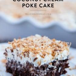 Social media image of Chocolate Coconut Cream Poke Cake
