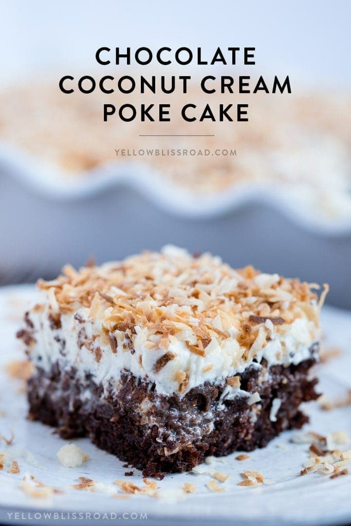 Chocolate Coconut Cream Poke Cake - Rich chocolate cake, coconut cream filling and fluffy, creamy frosting. A rich and decadent dessert!