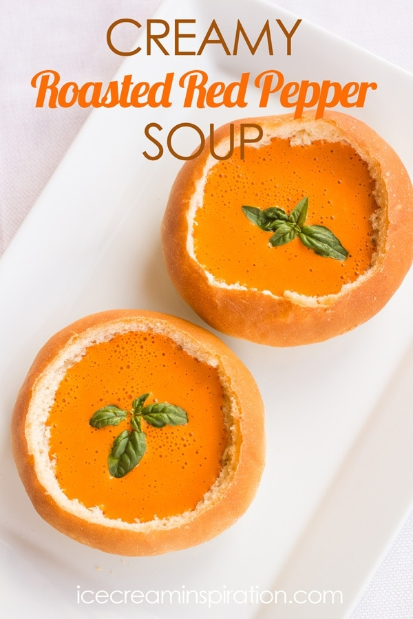 Social media image of Creamy Roasted Red Pepper Soup