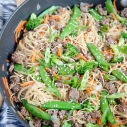 A pan filled with Beef and Noodle stir fry