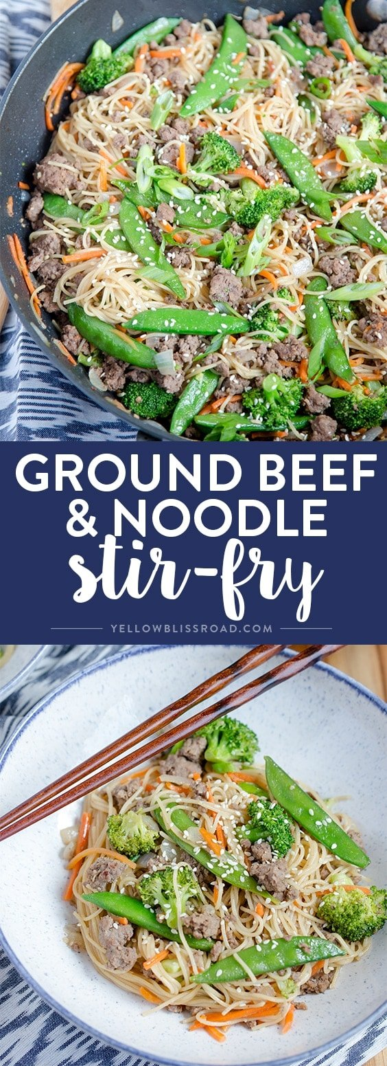 This Easy Ground Beef & Noodle Stir Fry is a quick and tasty dinner that's ready in just 20 minutes, making it the perfect weeknight meal!