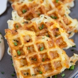 A close up of Egg Cheese Hash Brown Waffles