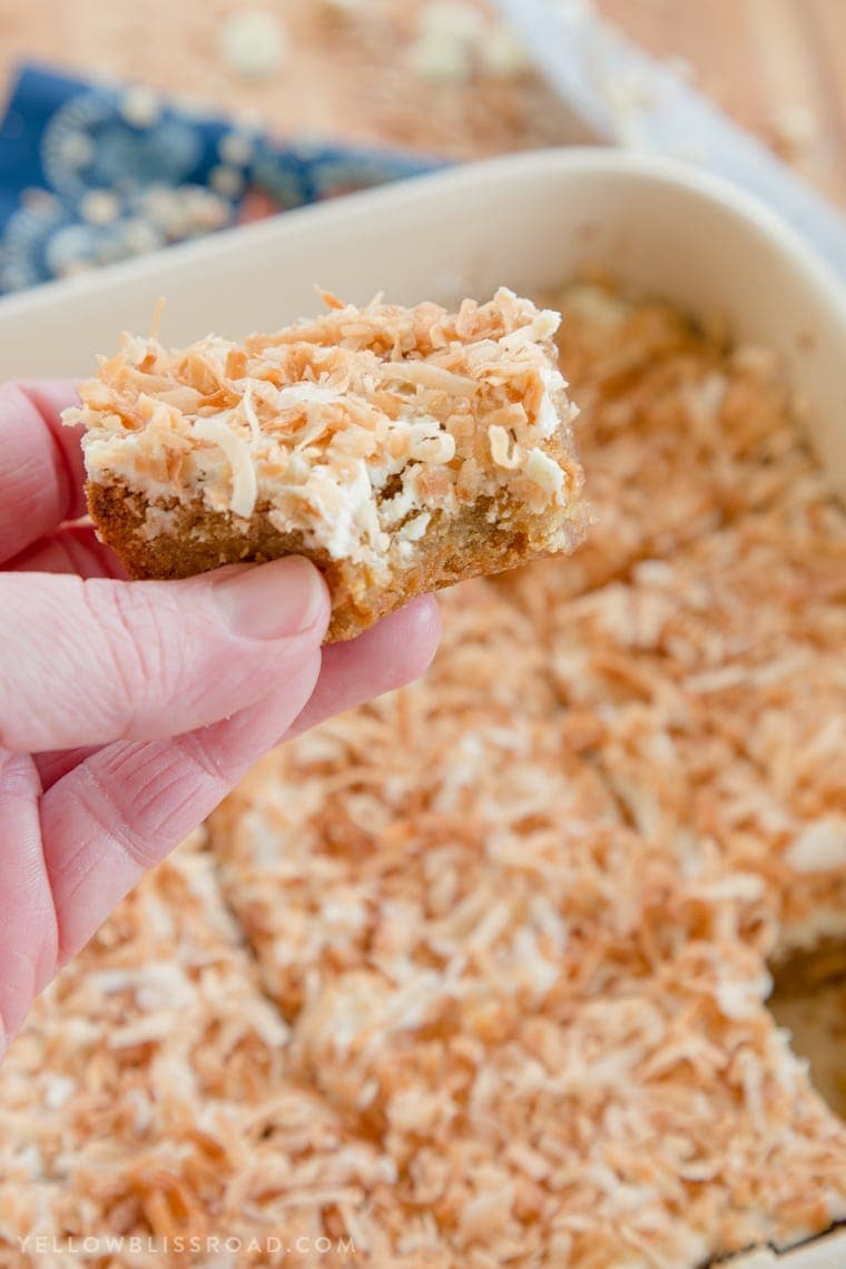White Chocolate and Toasted Coconut Blondies are a delicious dessert!