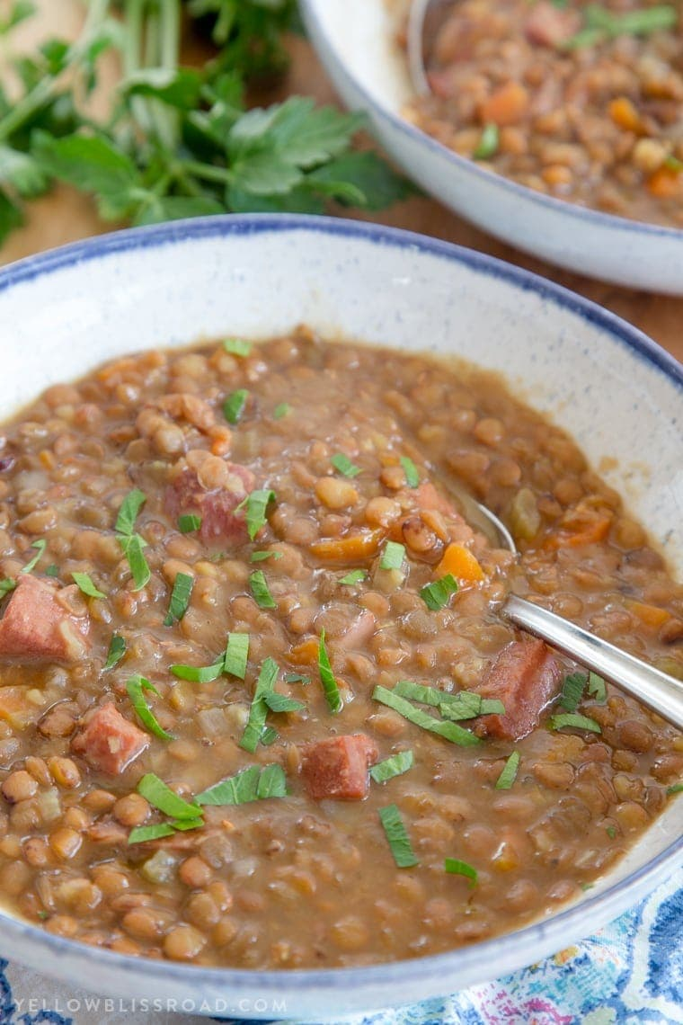 Pressure Cooker Lentil Soup - A delicious, hearty Lentil Soup is just 30 minutes away when you use your Pressure Cooker!