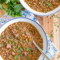 A bowl of lentil soup
