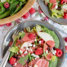 Raspberry & Pear Salad with Homemade Raspberry Vinaigrette