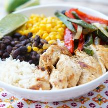 Healthy Chicken Fajita Bowls with Rice