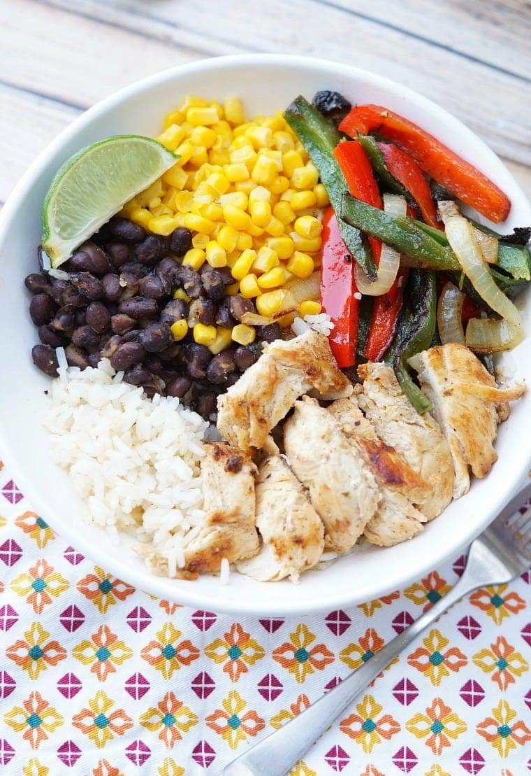 An overhead shot of a Healthy Chicken Fajita Bowl.