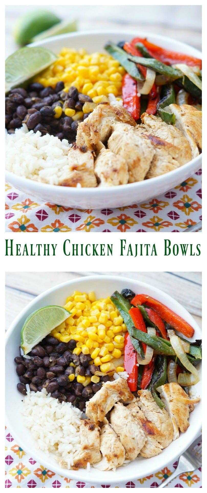 Healthy Chicken Fajita Bowls with photos in a collage.