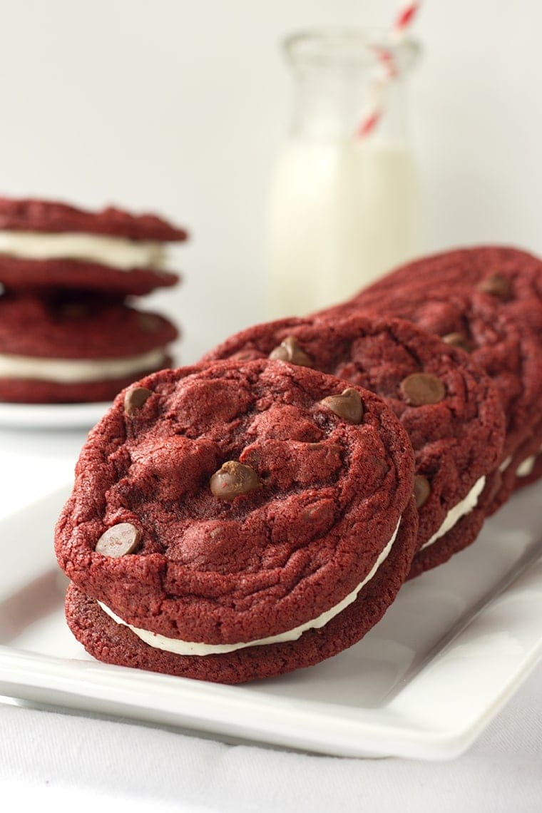 Red Velvet Sandwich Cookies - a yummy Valentine's Day Treat!