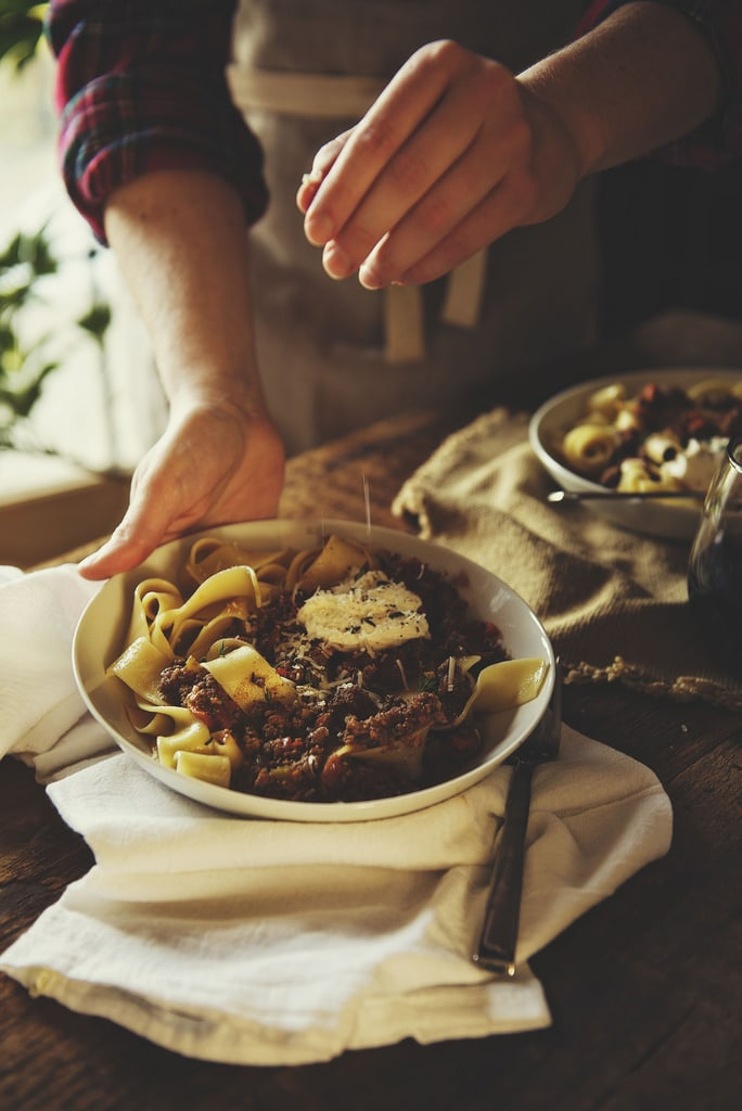 A person with bowl of Pappardelle