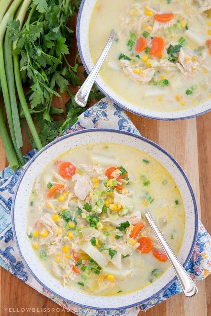 A bowl of Chicken Corn Chowder