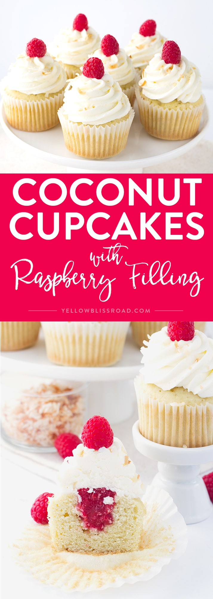 Social media image of Coconut Cupcakes with Raspberry Filling