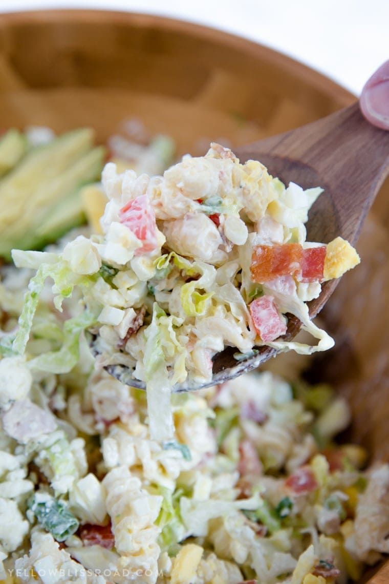 Creamy Chicken Cobb Pasta Salad has all the flavors of the classic Cobb Salad and is a perfect side dish for spring and summer picnics..