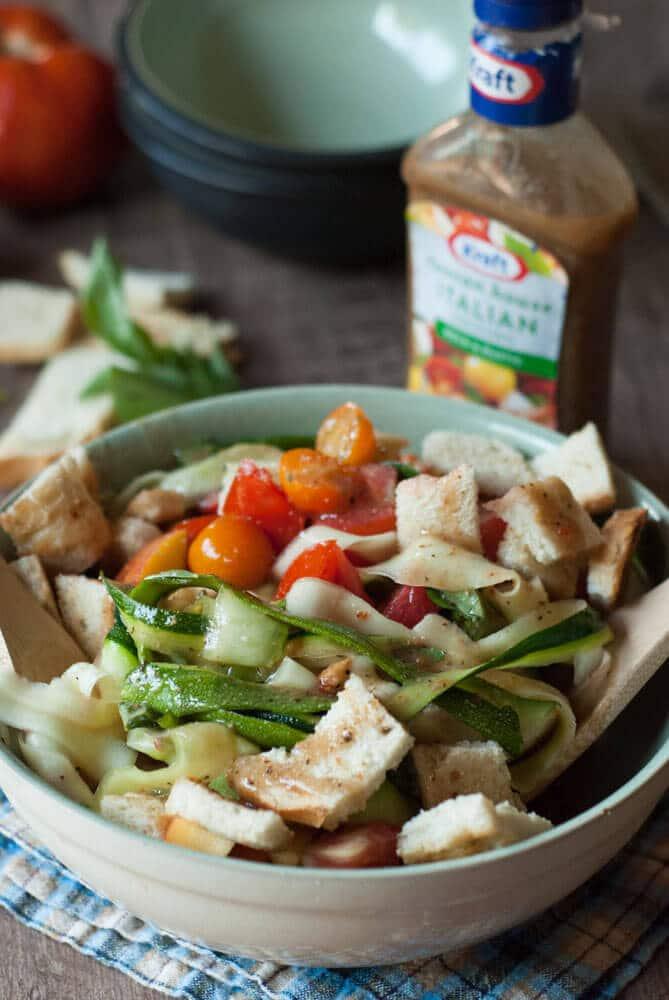 A bowl of Panzanella Salad