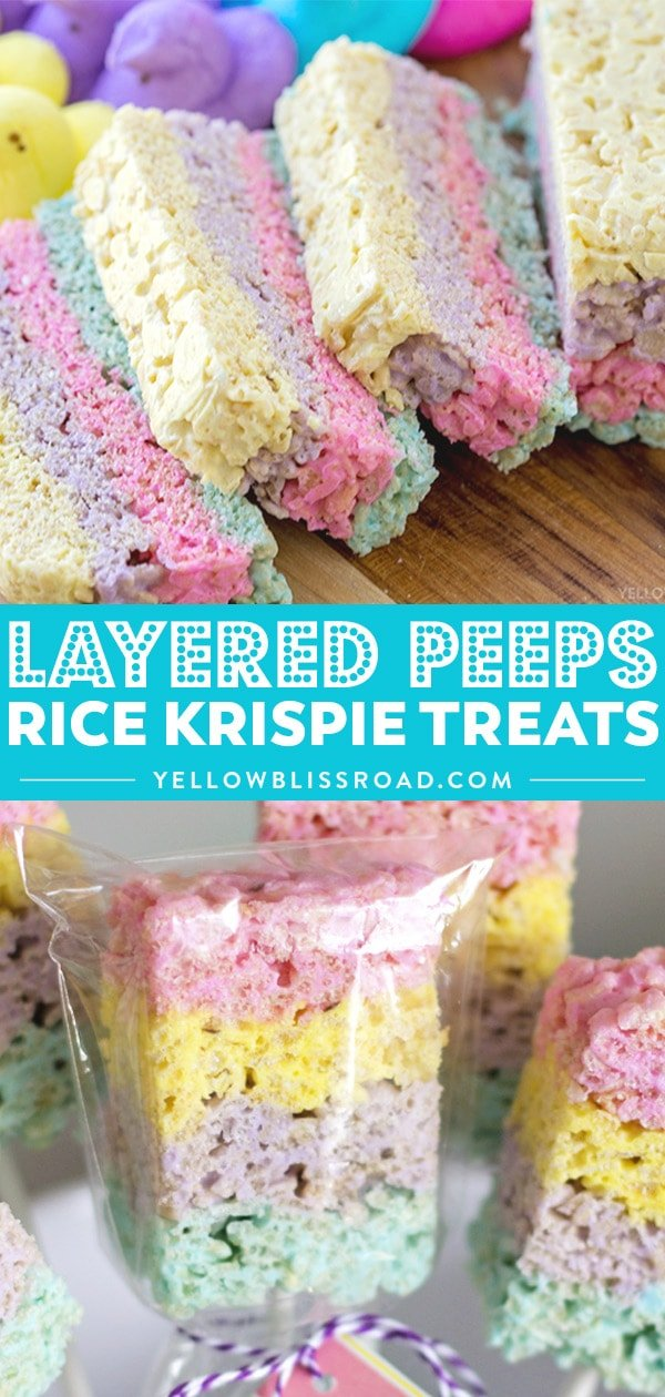 Layered Peeps Rice Krispie Treats collage.