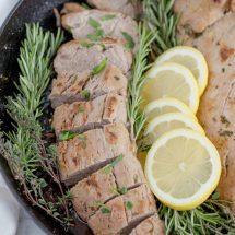 A plate of pork tenderloin