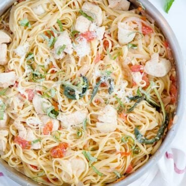 A pan of linguine