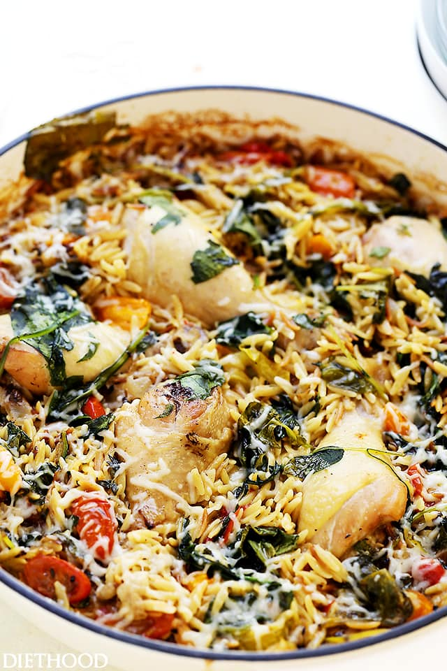 A pot with chicken and orzo