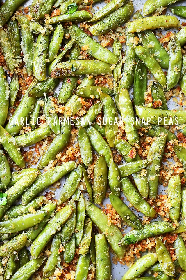 Pan full of snap peas