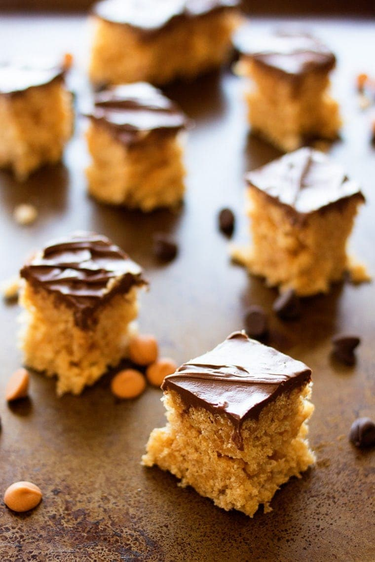 These Peanut Butter Crispy Bars are the perfect thing to take to parties, picnics, and barbecues! Only six ingredients and no baking!