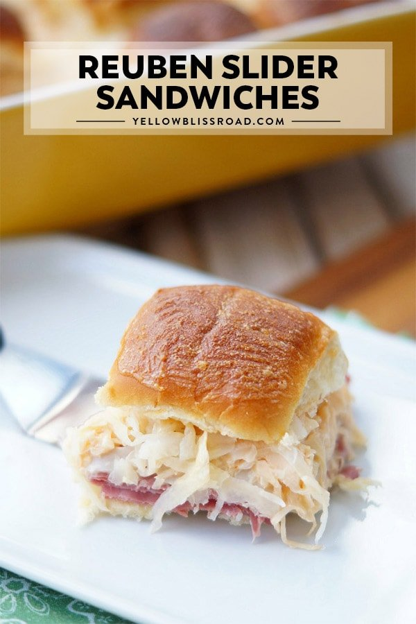 Reuben Sandwich Sliders on a plate with title text.