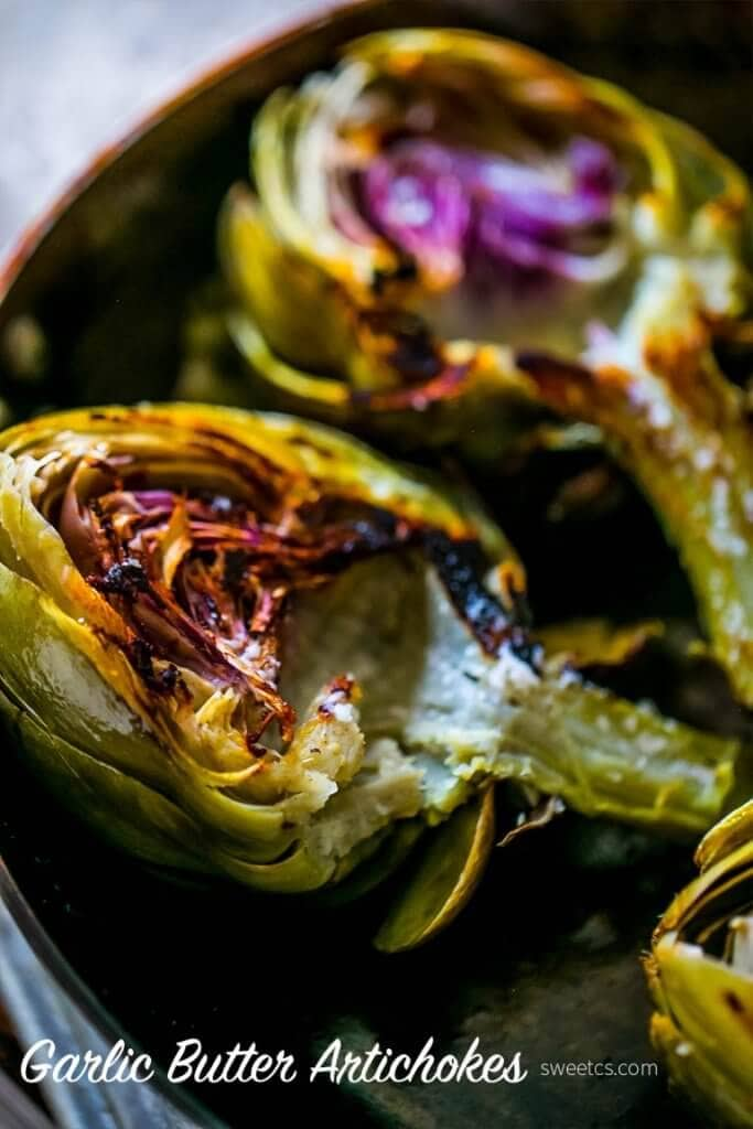 A close up of roasted artichokes