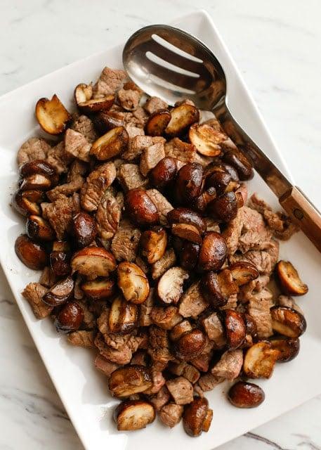 A plate of steak bites