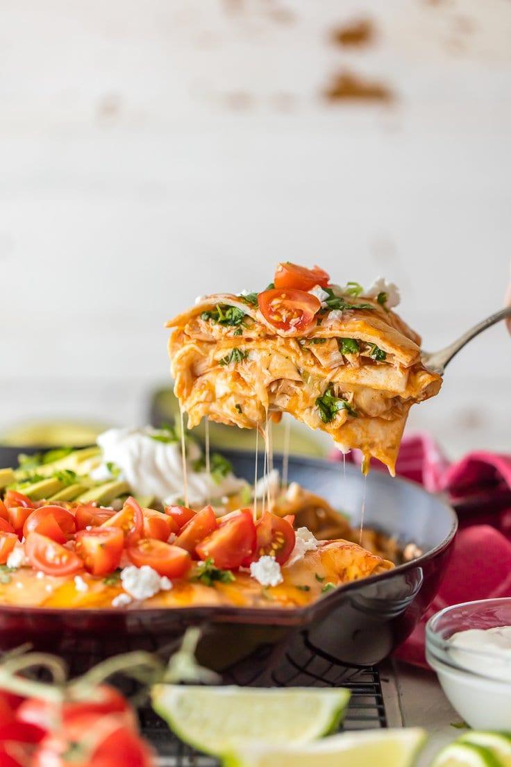 Enchilada skillet in a pan