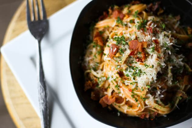 A dish of linguine with Bacon and Cheese