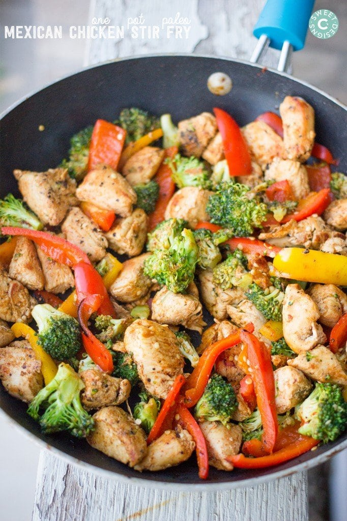 A pan filled with meat and vegetables