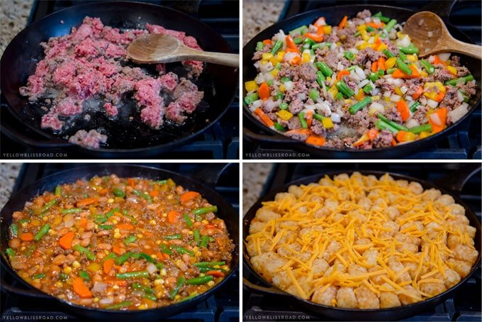 4 images showing the stages of making a tater tot casserole