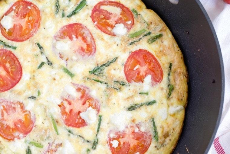 Asparagus, Tomato & Goat Cheese Fritatta