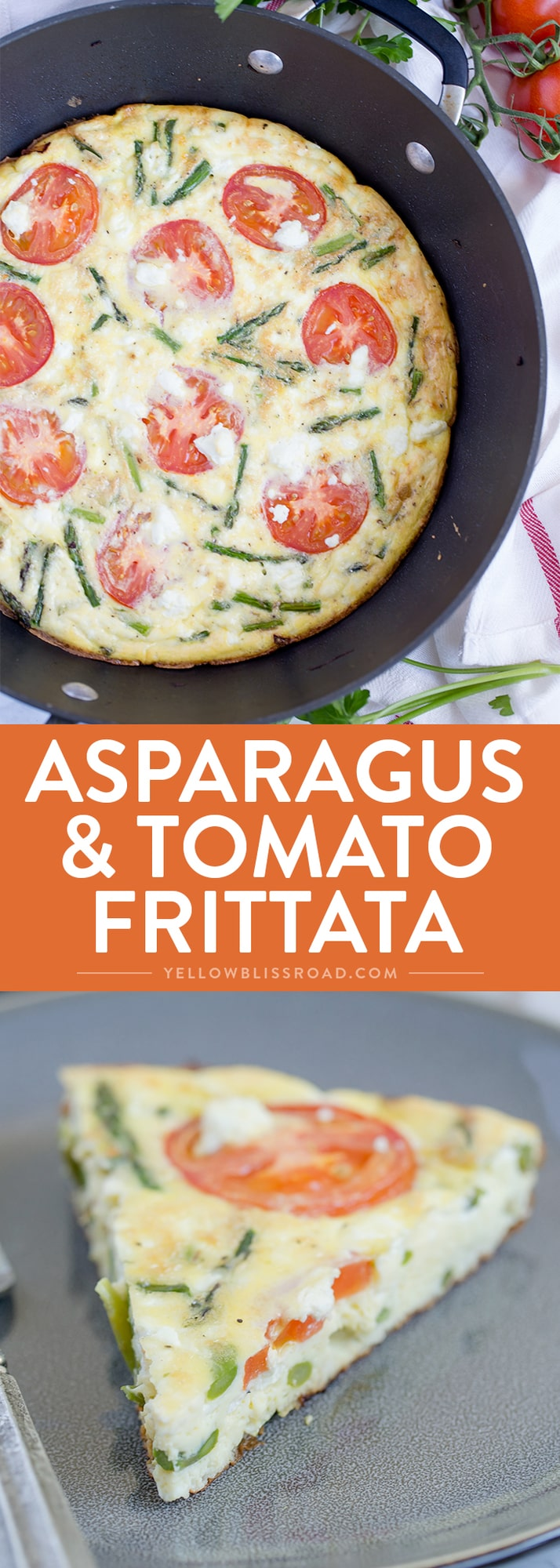This Asparagus, Tomato and Goat Cheese Frittata is perfect for spring brunch, breakfast, lunch or even dinner!