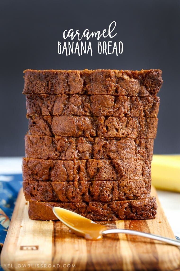This Caramel Banana Bread is full of tasty bananas and delicious sweet caramel. Finished with a drizzle of caramel, it's a decadent quick bread that makes a delicious dessert or snack.