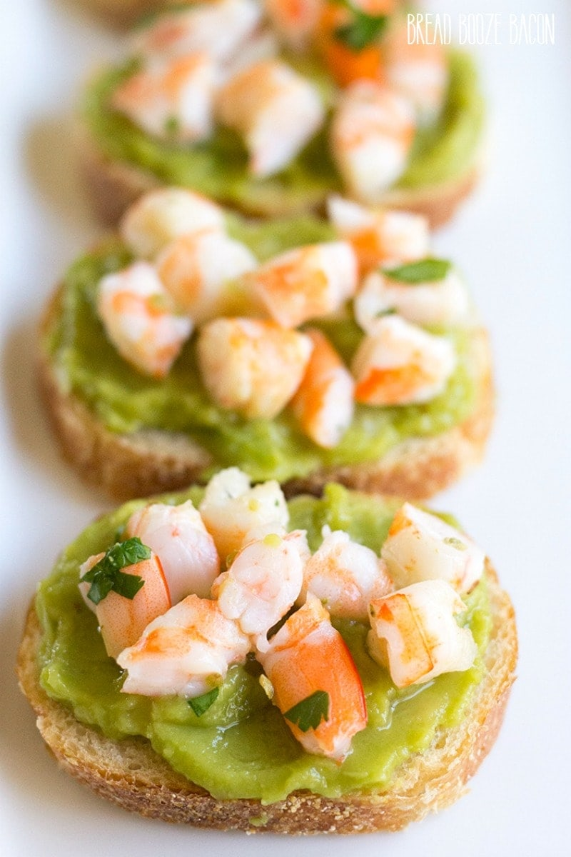 Guacamole Shrimp Bruschetta is an easy, 10-minute appetizer that's full of flavor and perfect for parties and Cinco de Mayo!