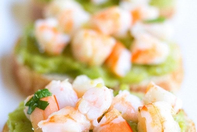 Guacamole Shrimp Bruschetta