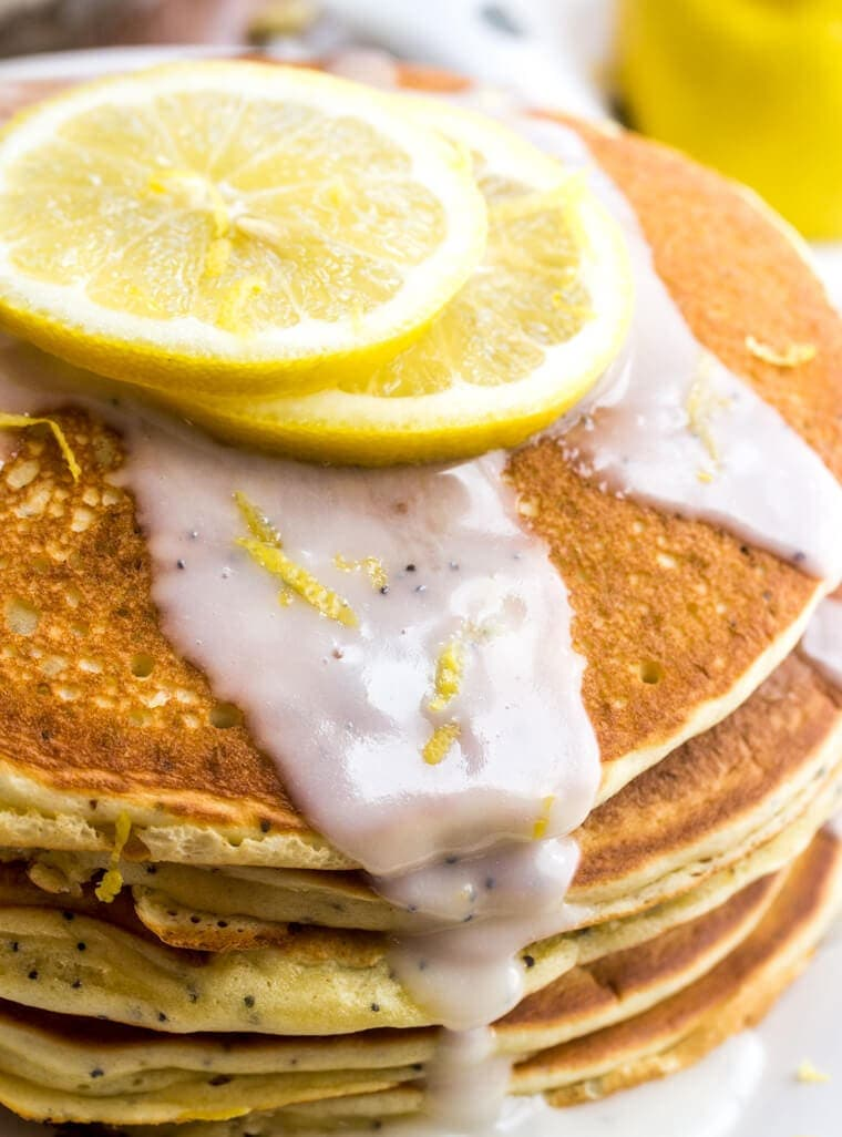 Lemon Poppyseed Pancakes with a burst of citrus flavor are perfect for Spring breakfast or brunch!