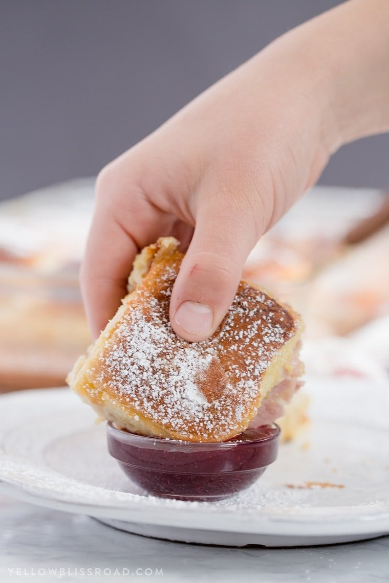 Monte Cristo Sandwich Sliders dipped in jelly