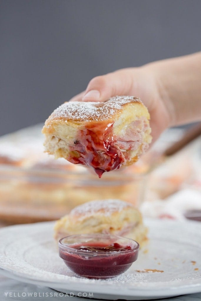 Monte Cristo Sandwich sliders dipped in strawberry jam.