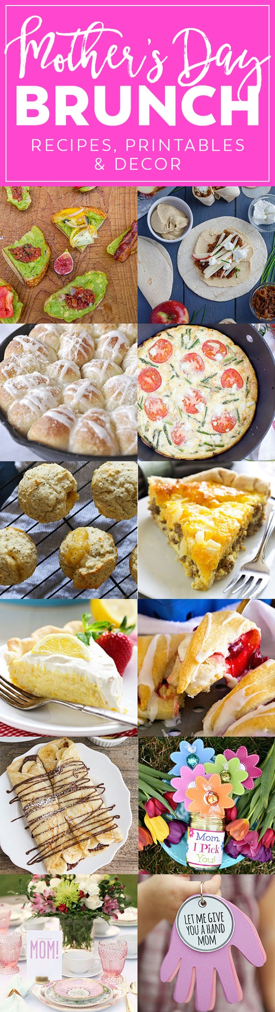 A collage of food for Mother\'s Day Brunch