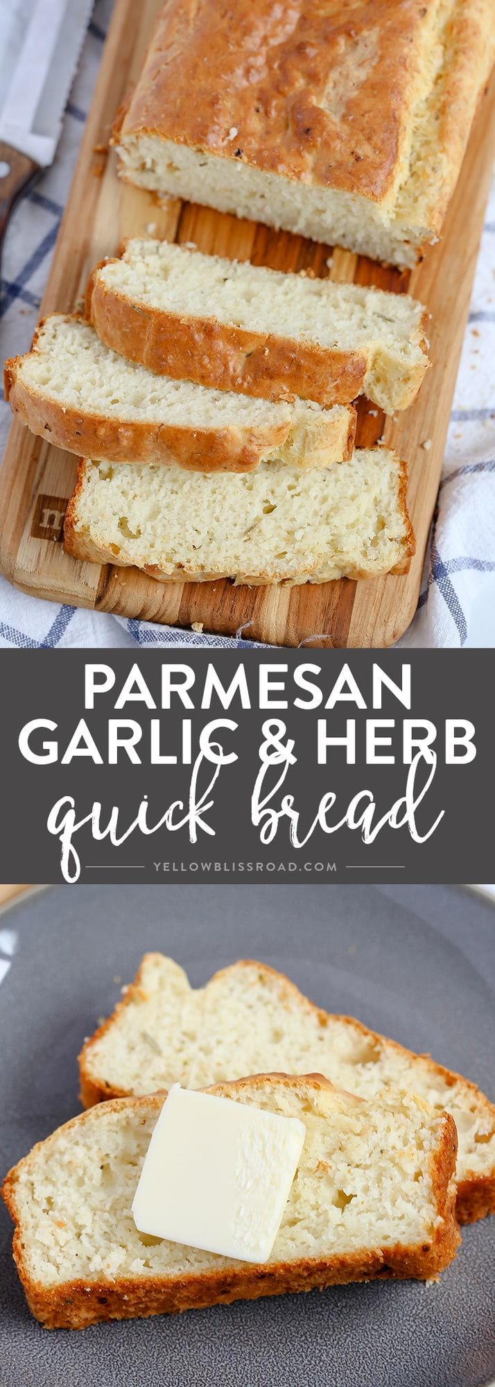 This Parmesan Garlic Herb Quick Bread is a tender, flavorful, savory quick bread that makes a great side dish to any meal.