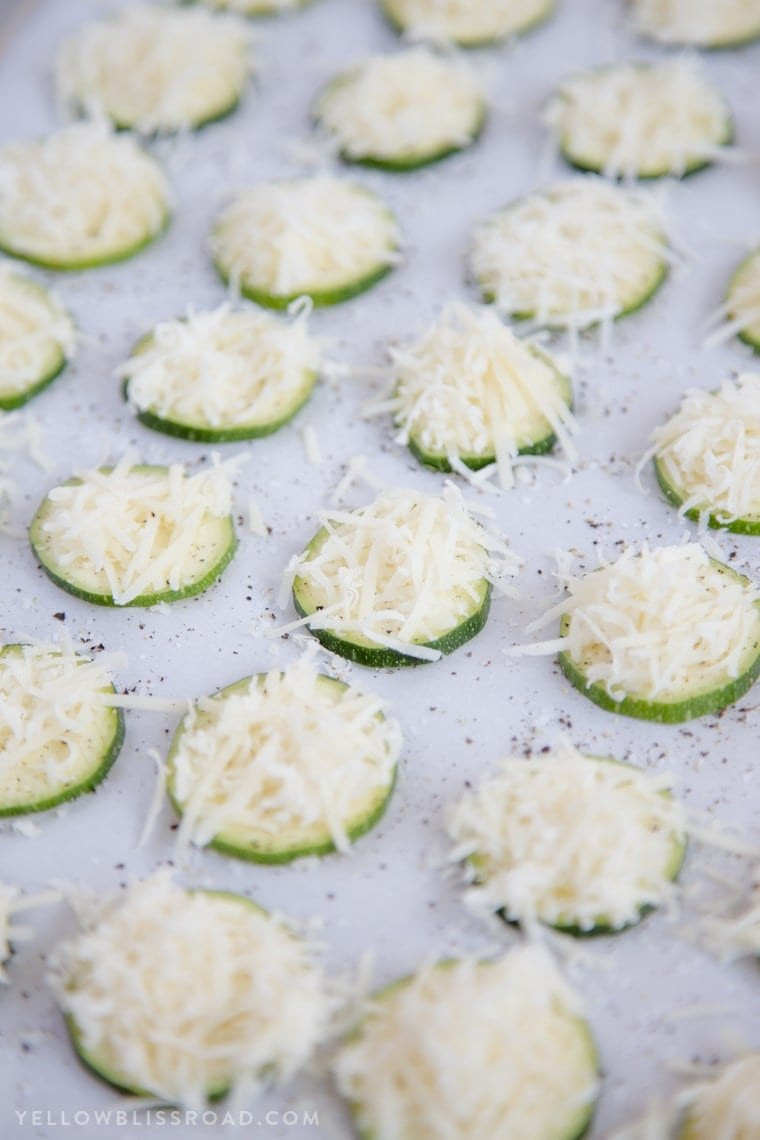Sliced zucchini with shredded parmesan cheese