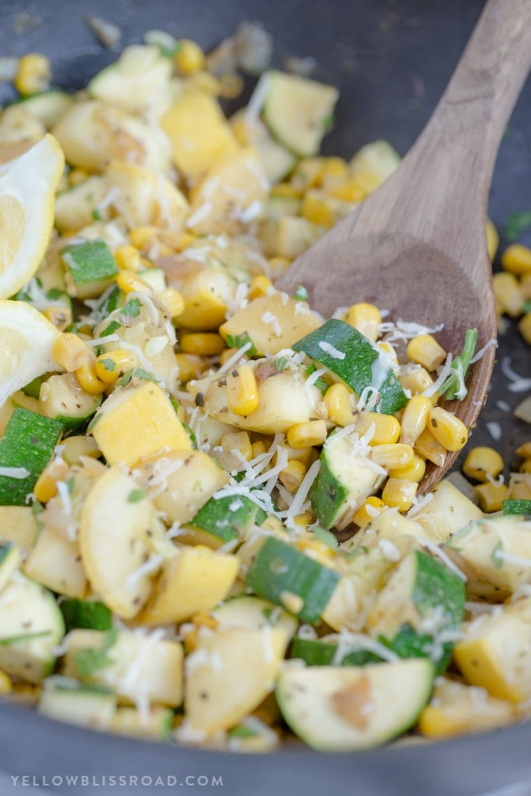 A bowl of zucchini and corn